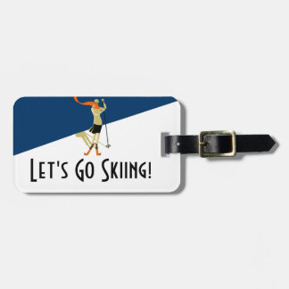 Let's Go Skiing! Vintage Design Skiers Luggage Tag