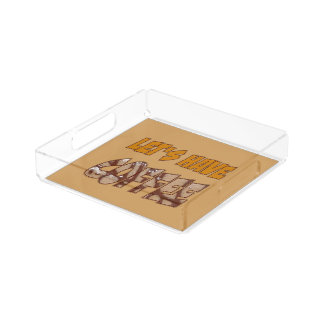 Let's have Coffee, small square tray
