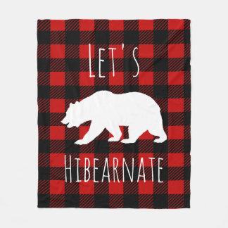 Let's Hibearnate White Bear & Buffalo Check Plaid Fleece Blanket