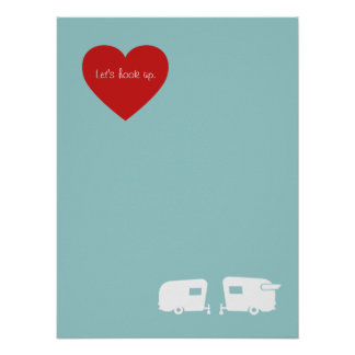 Lets Hook Up? Vintage Camper Rally RV Poster