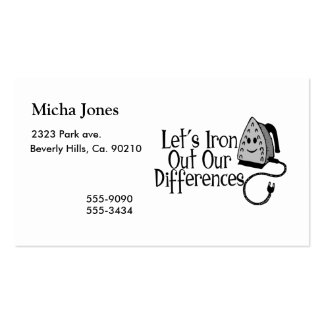 Let's Iron Out Our Differences Pack Of Standard Business Cards