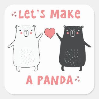 let's make a panda square sticker