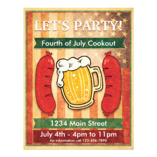 Let's Party! Barbecue Fourth of July 21.5 Cm X 28 Cm Flyer
