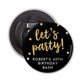 Let's Party Confetti, Black Party Favor Bottle Opener