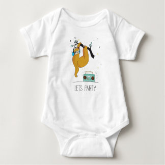 Let's Party Cute Sloth Baby Jersey Bodysuit