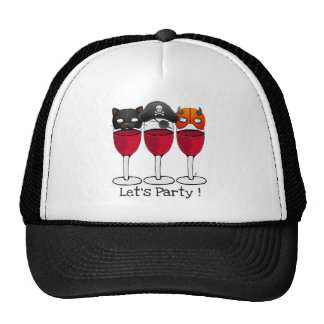 LET'S PARTY HALLOWEEN COSTUME MASKS WINE GLASSES HATS