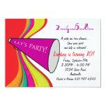 Let's Party Megaphone Invitation 13 Cm X 18 Cm Invitation Card