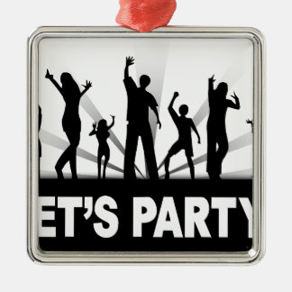 Let's Party Silver-Colored Square Decoration