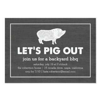 Let's Pig Out | Chalkboard Black & White BBQ Card