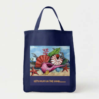 Let's Play in the Sand..... Grocery Tote Bag