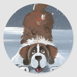 """Lets Play"" Saint Bernard dog Round Sticker"