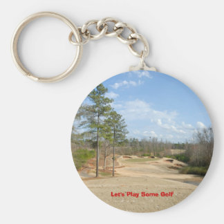Let's Play Some Golf Basic Round Button Key Ring
