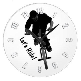 Let's Ride - BMX Rider Large Clock