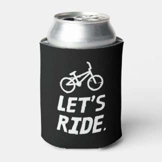 Let's Ride City and Mountain Cyclist Humor Can Cooler