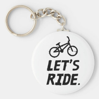 Let's Ride City and Mountain Cyclist Humor Key Ring