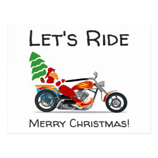 Lets Ride Merry Christmas Santa Motorcycle Post Cards