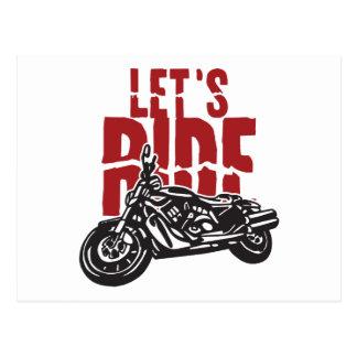 Lets Ride Motorcycle Design Postcard
