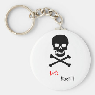 Let's Rock! Basic Round Button Key Ring