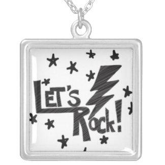Lets Rock Lightening Bolt Black on White Square Pendant Necklace