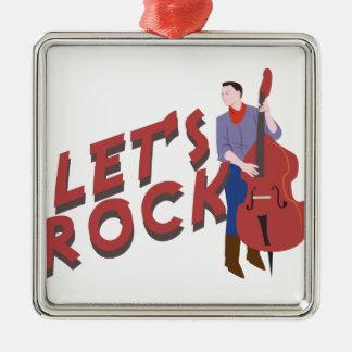 Let's Rock Silver-Colored Square Decoration