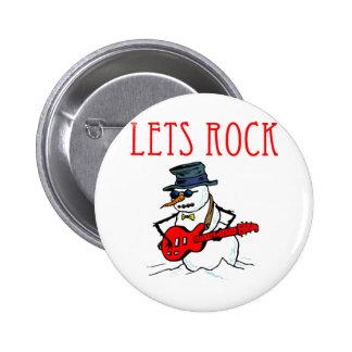 Let's Rock Snowman 6 Cm Round Badge