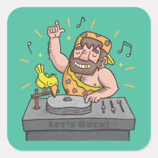 Lets Rock Stone Age Caveman Music DJ Sticker