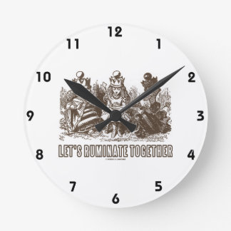 Let's Ruminate Together Alice Red White Queens Wall Clocks