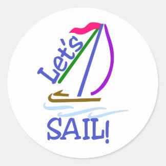 Lets Sail Round Sticker