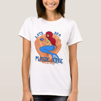 Lets sea plastic free! Blue mermaid T-Shirt