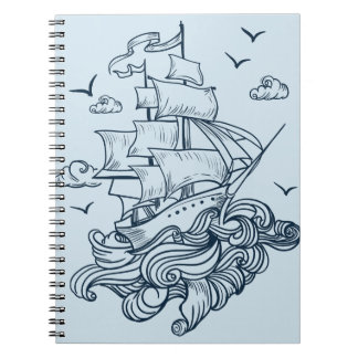 Let's Set Sail On The Deep Waves Spiral Notebook