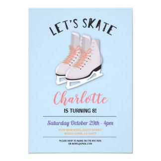 Let's Skate Girls Blue Ice-Skating Birthday Party Card