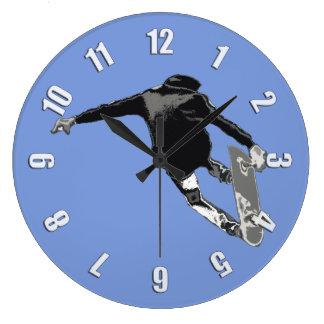 """Let's Skate"" - Skateboarder Large Clock"