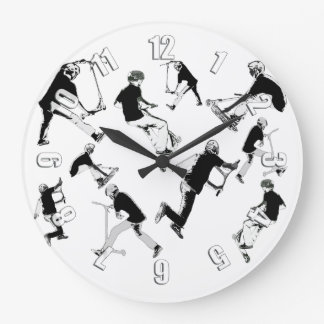 Let's Skate! - Stunt Scooter Fun Large Clock