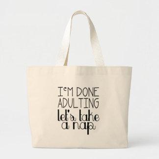 Let's Take a Nap Large Tote Bag