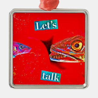 Let's Talk Silver-Colored Square Decoration
