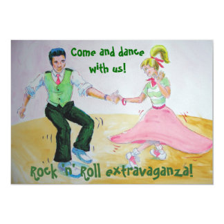 Let's twist again swing dancing rock and roll 13 cm x 18 cm invitation card
