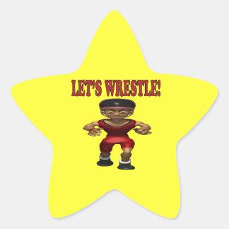 Lets Wrestle 5 Star Sticker