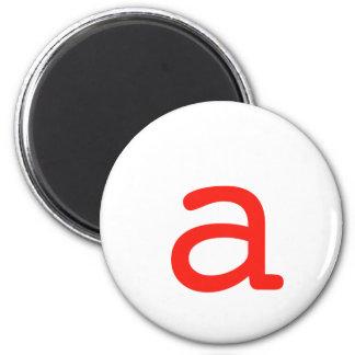 Letter a 6 cm round magnet