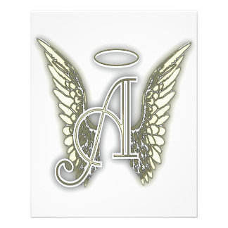 Letter A - Angel AlphabetInitial Letter Wings Halo 11.5 Cm X 14 Cm Flyer