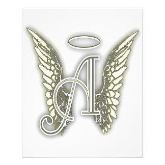 Letter A - Angel AlphabetInitial Letter Wings Halo 11.5 Cm X 14 Cm Flyer