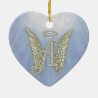 Letter A Angel Monogram Ceramic Ornament