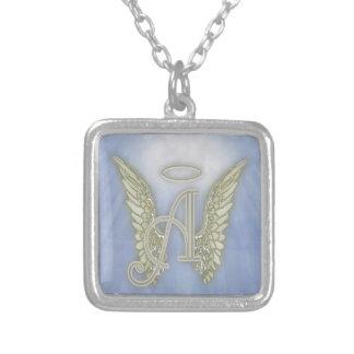 Letter A Angel Monogram Square Pendant Necklace