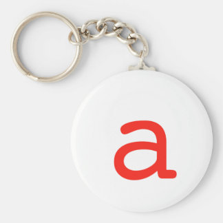 Letter a basic round button key ring