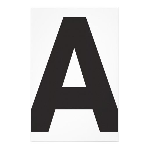 Letter A Black Custom Stationery