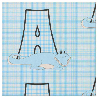 Letter A Boy's Blue Gingham with Alligator Fabric