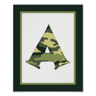 Letter A Camouflage Monogram Initial Wall Art