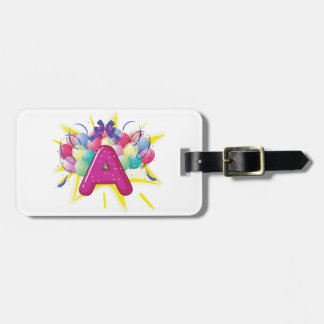 Letter A Celebration Luggage Tags