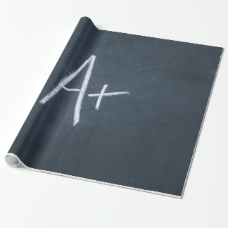 Letter A Chalkboard Background Charcoal Gray Chalk Wrapping Paper