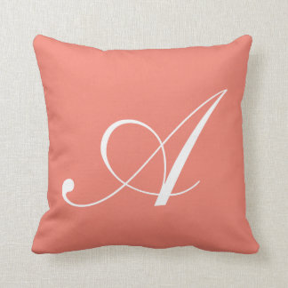 Letter A Coral Monogram Pillow