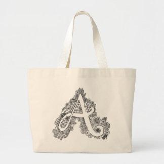 Letter A doodle monogram tote bag